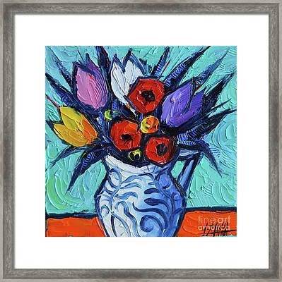 Tulips And Poppies Mini Still Life Framed Print by Mona Edulesco