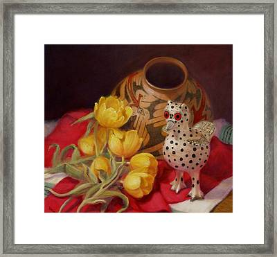 Framed Print featuring the painting Tulips And Pottery by Donelli  DiMaria