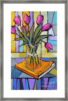 Tulips And Van Gogh - Abstract Still Life Framed Print by Mona Edulesco