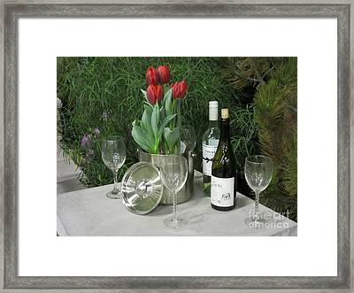 Tulips And Wine  Framed Print by Elizabeth Duggan