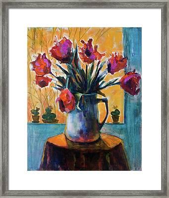 Tulips At Sunset Framed Print