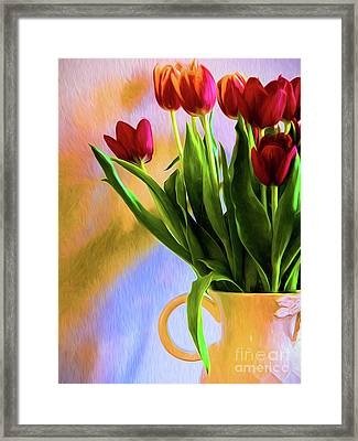 Tulips - Digital Art Framed Print by Kathleen K Parker