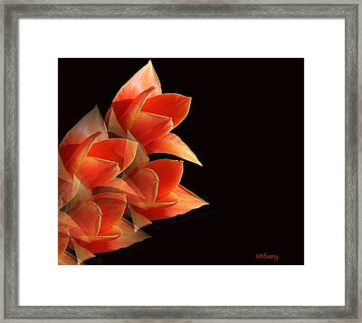 Tulips Dramatic Orange Montage Framed Print