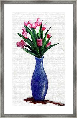 Tulips In A Tall Vase Framed Print by Farah Faizal