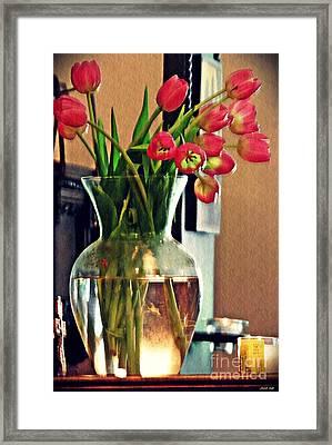 Tulips In A Vase Framed Print by Sarah Loft