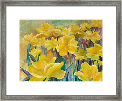 Tulips In Abstract Time Framed Print by Rita Bentley
