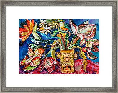 Tulips In Mexican Vase Framed Print