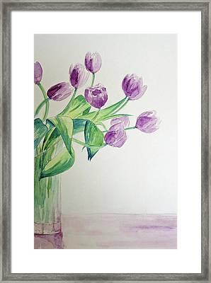 Tulips In Purple Framed Print by Julie Lueders