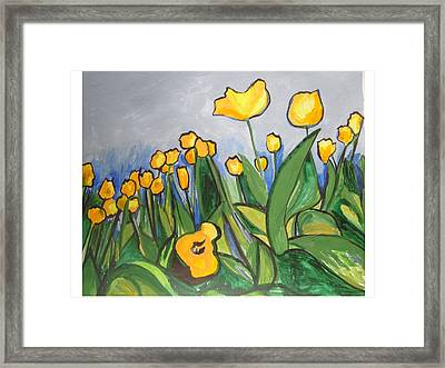 Framed Print featuring the painting Tulips In Springtime by Esther Newman-Cohen