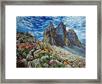 Tulips In The Mountains Framed Print by Katreen Queen