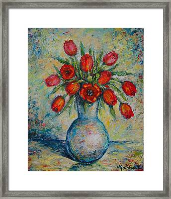 Tulips In The Vase Framed Print by Mirjana Gotovac