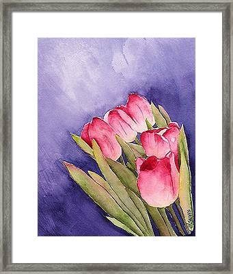 Tulips In The Wind Framed Print by Mary Gaines