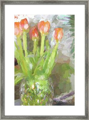 Tulips In The Window Framed Print by Cheryl Rose
