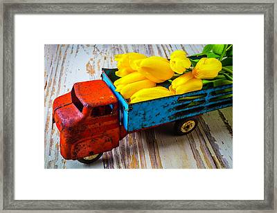Tulips In Toy Truck Framed Print by Garry Gay