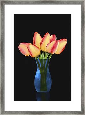 Tulips In Vase Framed Print by Steven Michael