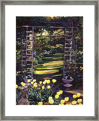 Tulips Of Gold Framed Print by David Lloyd Glover
