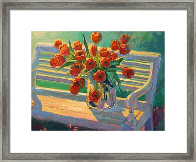 Tulips On A Garden Bench Framed Print by Robert Lewis