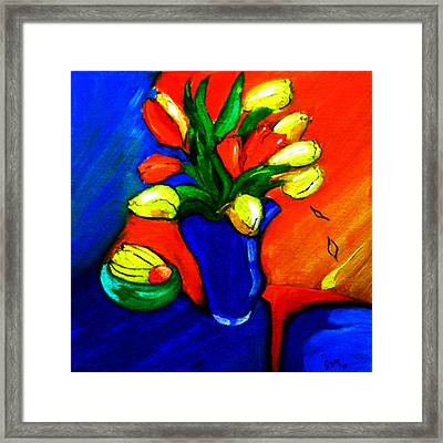 Tulips On My Table Framed Print