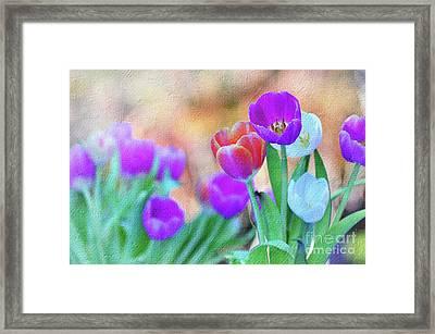 Tulips On Pastel Bokeh Painterly By Kaye Menner Framed Print