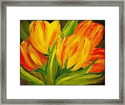 Tulips Parrot Yellow Orange Framed Print by Carol Nelissen