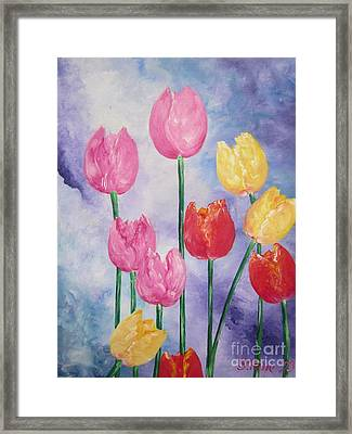 Ten  Simple  Tulips  Pink Red Yellow                                Flying Lamb Productions   Framed Print