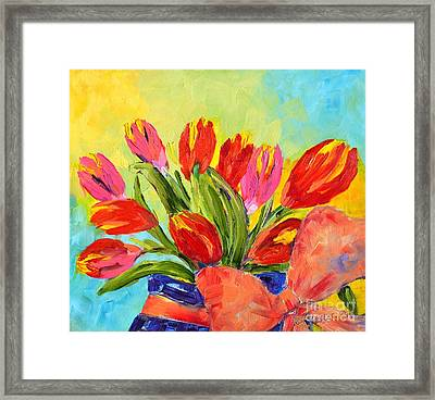Tulips Tied Up Framed Print by Lynda Cookson