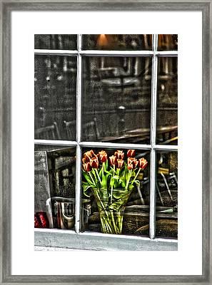 Tulips Window Framed Print by Marco Moscadelli