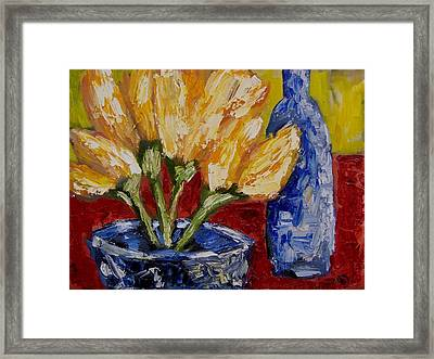 Tulips With Blue Bottle Framed Print by Windi Rosson