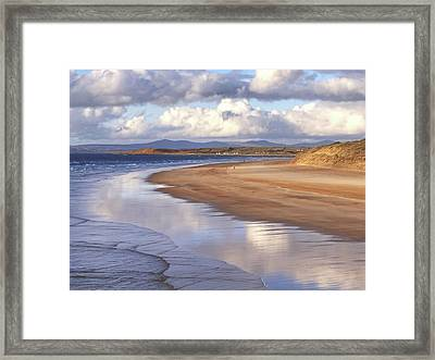 Tullan Strand - Clouds Reflected In The Sea, The Beach And Donegal Hills Framed Print