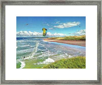 Tullan Strand - Surf, Blue Sky And A Kite Surfer Enjoying The Waves Framed Print