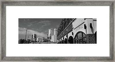 Tulsa Buildings Skyline Panoramic - Black And White Framed Print