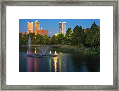 Tulsa Downtown Skyline Early Morning Reflections Framed Print by Gregory Ballos