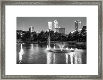 Tulsa Downtown Skyline Water Reflections - Black And White Framed Print