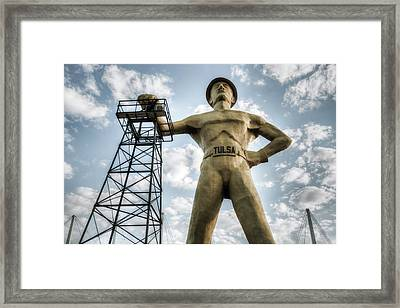 Framed Print featuring the photograph Tulsa Driller Tulsa Oklahoma - Vintage Colors by Gregory Ballos
