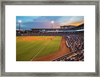 Tulsa Drillers Stadium Sunset - Oneok Stadium Tulsa Oklahoma Framed Print by Gregory Ballos