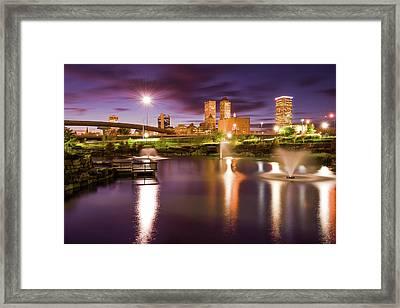 Tulsa Lights - Centennial Park View Framed Print by Gregory Ballos