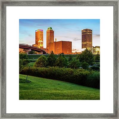 Tulsa Oklahoma City Skyline At Sunset Framed Print