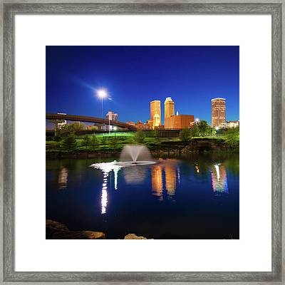 Framed Print featuring the photograph Tulsa Oklahoma City Skyline In Midnight Blue by Gregory Ballos