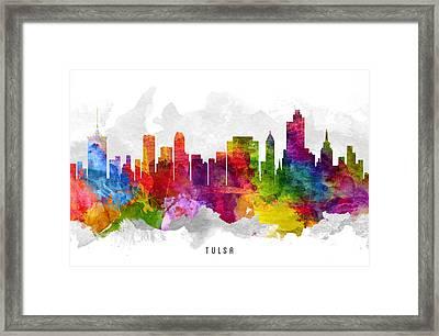 Tulsa Oklahoma Cityscape 13 Framed Print by Aged Pixel