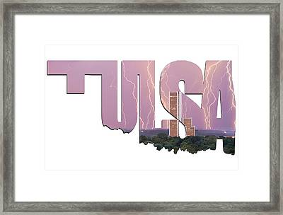 Tulsa Oklahoma Letters Typographic - Electric Night - Cityplex Towers Framed Print by Gregory Ballos