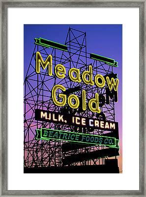 Tulsa Oklahoma Meadow Gold Neon - Route 66 Photo Art Framed Print