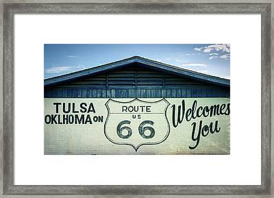 Framed Print featuring the photograph Tulsa Oklahoma On Route 66 Welcomes You by Gregory Ballos