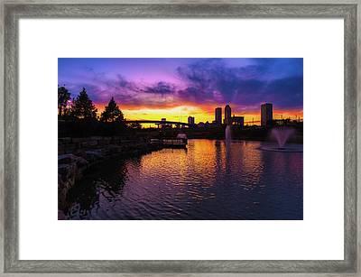 Tulsa Oklahoma Skyline On Fire Framed Print by Gregory Ballos