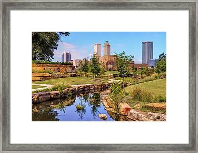 Tulsa Oklahoma Skyline From Centennial Park River Framed Print