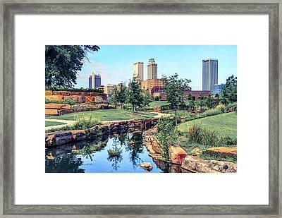 Tulsa Oklahoma Skyline View From Central Centennial Park 3 Framed Print