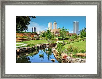 Tulsa Oklahoma Skyline View From Central Centennial Park Framed Print by Gregory Ballos