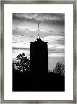 Tulsa Oklahoma University Tower Silhouette - Black And White Framed Print