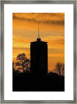 Tulsa Oklahoma University Tower Silhouette - Orange Sky Framed Print