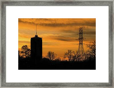 Tulsa Silhouettes And Golden Skies - University Tower Morning  Framed Print by Gregory Ballos