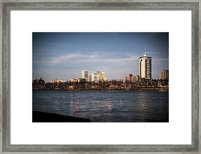 Tulsa Skyline And Arkansas River - Vignette Framed Print